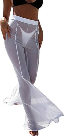 FNKDOR 2018 Sexy Style Womens Beach Swimming Party Clubbing Perspective Mesh Sheer Bikini Cover Up Swimwear Transparent Long Pant Trousers(White,M)