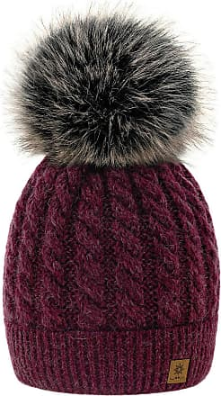 4sold Womens Ladies Beanie Hat Pom Pom Warm Winter Natural Wool Mohair Lining Full Cosy Fleece Liner (Carla Burgund)