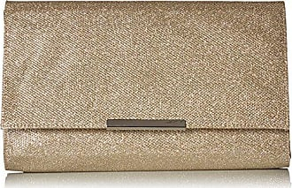 Jessica McClintock Womens Nora Large Envelope Glitter Clutch, Champagne, One Size