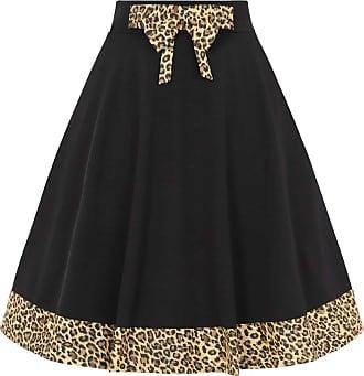 Banned Rock N Roll Leopard Swing Skirt - UK-12 Black