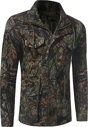 NPRADLA Men Long Sleeve Autumn Winter Ourdoor Jungle Windbreak Field Sweatshirt Shirt Top Coat Army Green