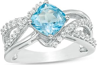 Zales 7.0mm Cushion-Cut Swiss Blue Topaz and Lab-Created White Sapphire Multi-Row Bypass Crossover Ring in Sterling Silver
