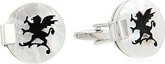 Stacy Adams Stacy Adams Mens Round Cuff Links with Antique Pattern and Ribbed Edge, Silver/Gold, One Size