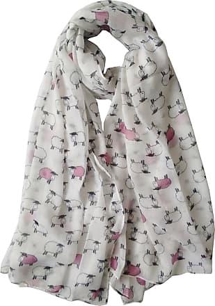 GlamLondon Sheep Herd Print Scarf Ladies Woolly Animal Fashion Shawl Wrap (White)