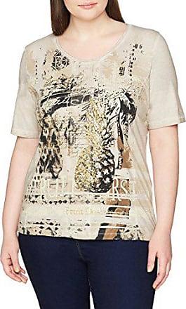 Gina Laura T-Shirt Schriftmotiv V-Ausschnitt Ausbrennerjersey ecru NEU
