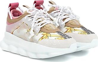 2ca79099c56ec Versace Baskets Chain Reaction en toile imprimée et cuir