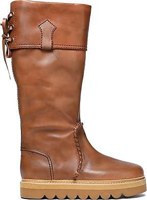 8ec02d7b414 See By Chloé See By Chloé Woman Whipstitched Leather Knee Boots Camel Size  35