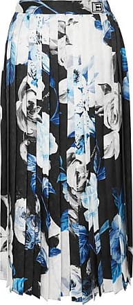 Off-white Pleated Floral-print Silk-moire Culottes - Blue