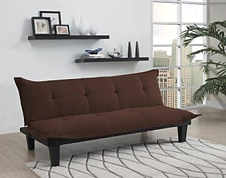 Dorel Home Products DHP Lodge Convertible Futon Couch Bed with Microfiber Upholstery and Wood Legs, Brown
