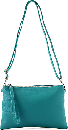 modamoda.de T186 - Italian Clutch/Shoulder Bag Leather Medium, Colour:turquoise Blue