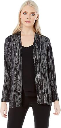 Roman Originals Women Longline Glitter Jacket - Ladies Evening Formal Christmas Party Glitter Sparkle Edge to Edge Long Sleeve Cover up Jackets - Black - Size 10