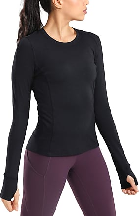 CRZ YOGA Womens Long Sleeve Running Shirt Athletic Workout Top with Thumb Holes Black 10