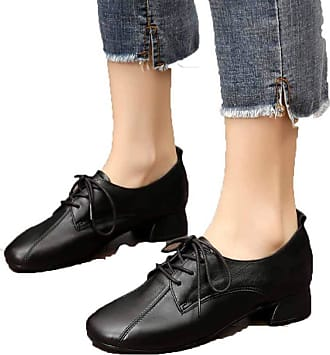 NOADream Women Low Heel Vintage Oxfords Leather Shoes Classic Comfy Casual Lace-up Shoes Office Work Party Shoes Black