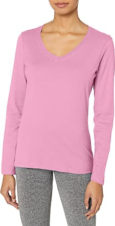 Hanes womensO9142V-neck Long Sleeve Tee Long Sleeve Shirt - Pink - X-Large