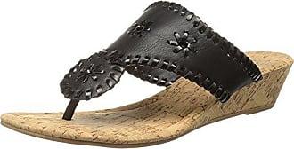 7d800a4f43 Rampage Womens Scheena Thong Cork Low Wedge Sandal, Black/Black, 6 M US