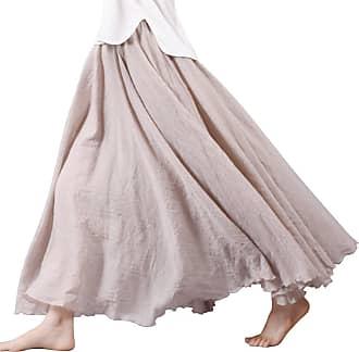 OCHENTA Womens Bohemian Style Elastic Waist Band Cotton Linen Long Maxi Skirt Dress Off White 85CM Length