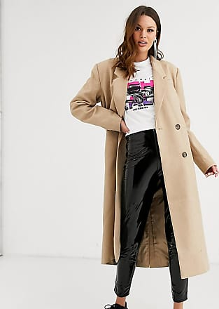 Asos Tall ASOS DESIGN Tall double breasted longline coat in camel-Beige
