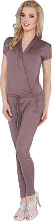 FUTURO FASHION Womens Jumpsuit with Pockets V Neck Wrap Playsuit Catsuit Sizes 8-18 1080
