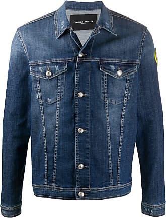 Frankie Morello Jaqueta jeans com patch de logo - Azul