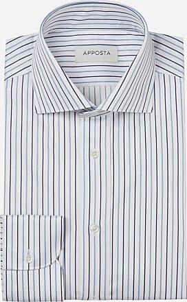 Apposta Camicia righe blu 100% puro cotone twill, collo stile francese
