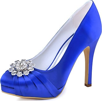 Elegantpark EP2015-PF Women Closed Toe Pumps Platform High Heels Court Shoes Rhinestones Satin Wedding Party Bridal Shoes Royal Blue UK 7(EU 40)