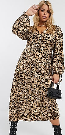 Missguided button through midi dress with puff sleeves in leopard-Multi