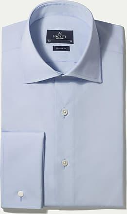 Hackett Mens Poplin Classic Double Cuff Cotton Shirt | Size 170 | White