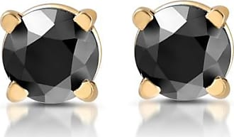 Pompeii3 14K Yellow Gold.50CT Black AAA Diamond Studs Womens Matching ROUND Earrings New