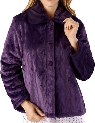 Slenderella Ladies Bed Jacket Faux Fur Collar Soft Fleece Button Front House Coat Large (Purple)
