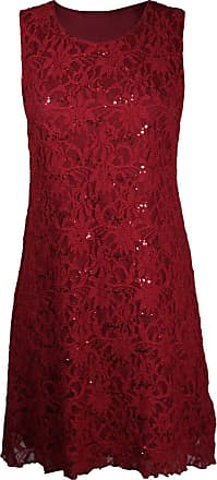 Purple Hanger New Womens Floral Lace Sleeveless Scoop Neckline Ladies Layer Lined Sequin Evening Dress Plus Size Red Size 12-14
