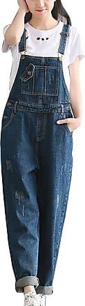 LaoZanA Women Baggy Dungarees Harem Pants Jumpsuits Overalls Loose Denim Trousers Ankle Pants Blue 2XL