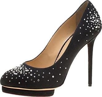 cbde9e294ec1 Charlotte Olympia Black Crystal Embellished Linen Bejeweled Dotty Platform  Pumps