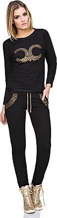 FUTURO FASHION Ladies Trendy Loungewear Outwear Streetwear Sweatshirt Pants Set Joggers Casual Tracksuit FZ116 Black