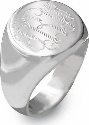 Zales Sterling Silver Round Engraved Signet Ring (1-3 Letters)