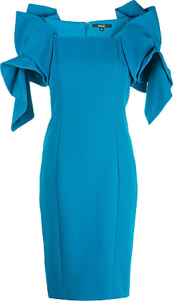 Badgley Mischka ruffled shoulders fitted dress - Blue