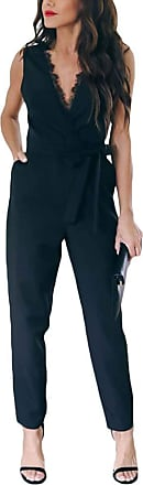 TOMWELL Womens High Waisted Jumpsuit Baggy Color Sólido Harem Romper V-Neck All in One Playsuit A Black UK 12