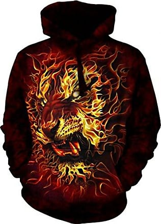The Mountain Fire Tiger-Hsw-M Adult Hoodie, Red, Medium