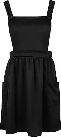 Be Jealous Women Pinafore Dungaree Cross Back Ladies Side Pocket Mini Skater Dress Playsuit Black