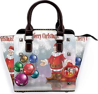 Browncin New Year Christmas Santa Claus With Colorful Xmas Ball In Pine Fir Tree In Snowflake Detachable Fashion Trend Ladies Handbag Shoulder Bag Messenger Ba