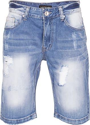 Noroze Ripped Mens Denim Shorts (Blue WN2441, 32)