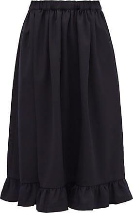 Comme Des Garçons Comme Des Garçons Girl - Ruffled-hem Wool-crepe Skirt - Womens - Navy