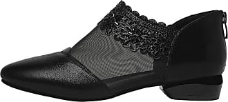 Daytwork Women Flat Shoes Ballet Pumps - Pointed Toe Transparent Mesh Leather Slip on Fashion Dance Shoes Black