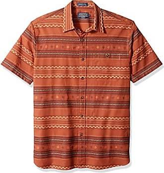 17a6449e Pendleton Mens Short Sleeve Fitted Kay Street Shirt, Tobacco Stripe XL