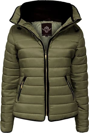 Parsa Fashions Malaika Ladies Quilted Padded Puffer Bubble Fur Collar Warm Thick Womens Jacket Coat - Available in Plus Sizes (Small to XXL) (XL, Khaki)