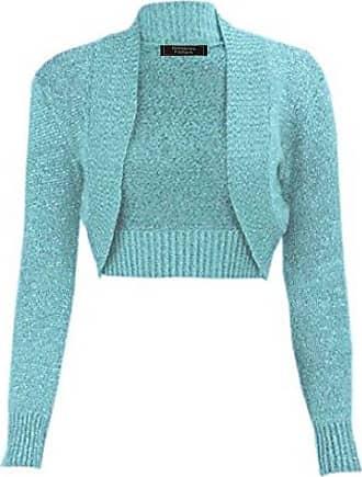 Momo & Ayat Fashions Ladies Girls Lurex Metallic Ribbed Collar Cropped Shrug UK Size 8-26 (M/L (UK 12-14), Turquoise)
