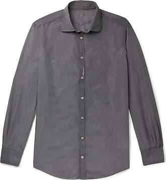 Massimo Alba Micro-checked Cotton-poplin Shirt - Gray