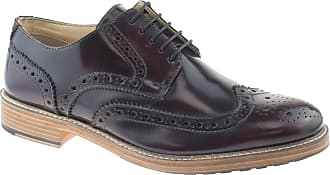 Roamers Hi Shine Oxblood Real Leather 5 Eyelet Wing capped Gibson Brogue Mens Shoes Size 10