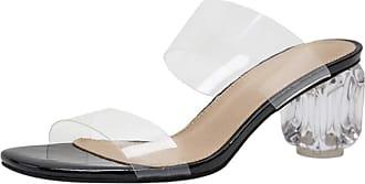 Mediffen Women Block Heels Summer Transparent Slides Sandals Open Toe Mule Slippers Slip On Fashion Ooutdoor Slippers Mule Sandals Black Size 42 Asian
