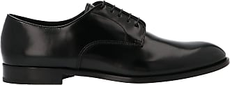 Doucal's Black Brushed Leather Derby Shoes, 44.5