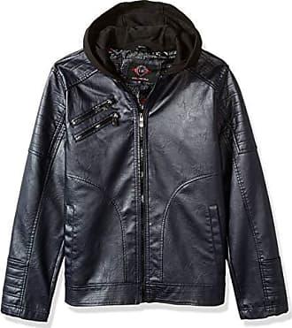 Urban Republic Mens Faux Leather Jacket, Blue, L